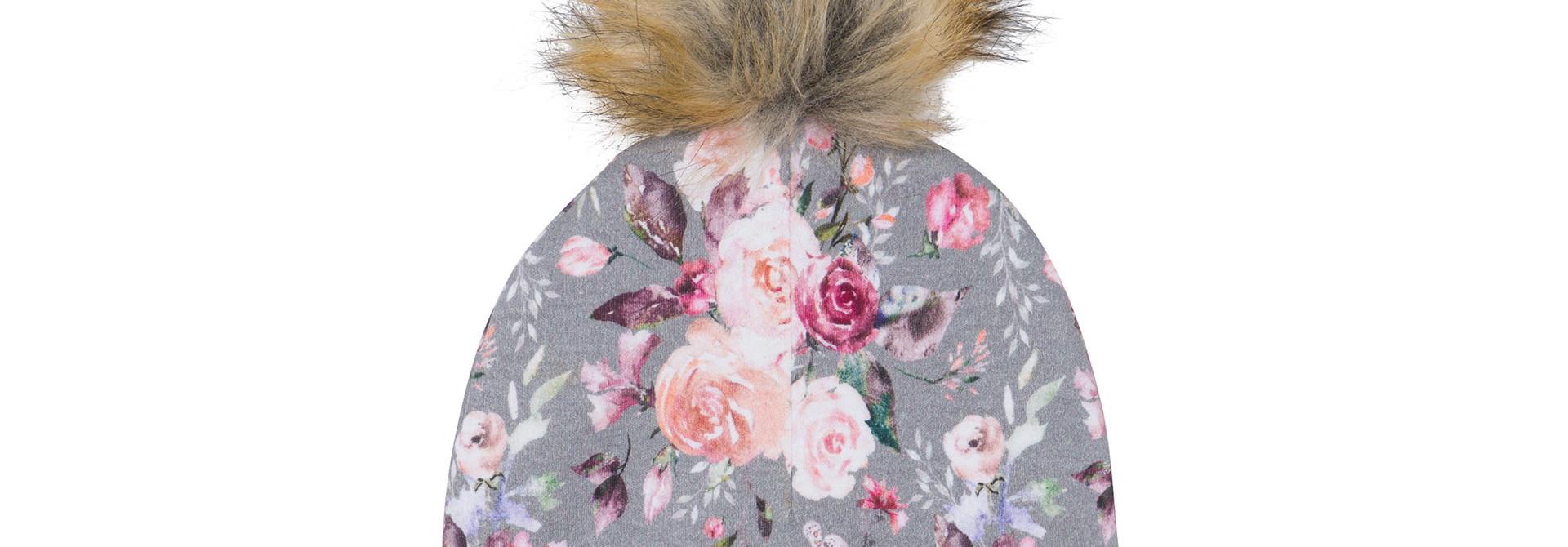 Bonnet à pompon amovible Gris