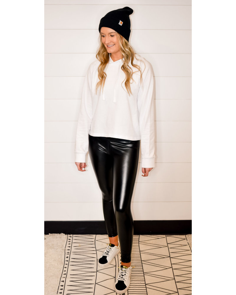GLOSSY LEATHER HIGH WAISTED LEGGINGS