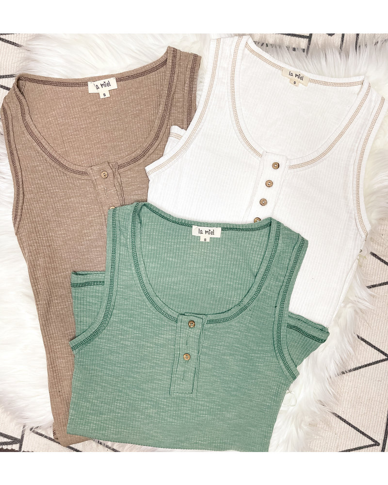 RIBBED HENLEY TANK TOP
