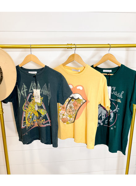 ROLLING STONES FLOWER TONGUE TEE - YELLOW