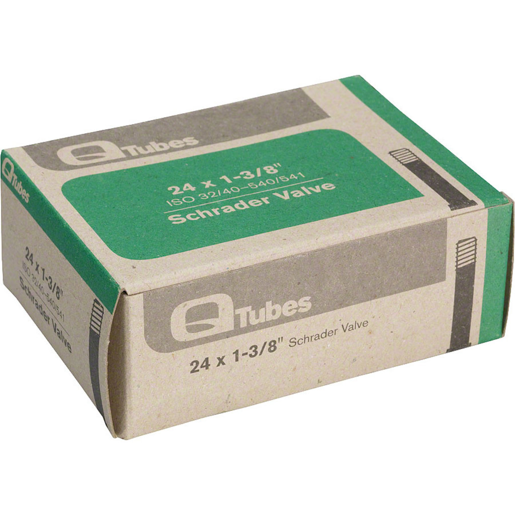 "Q-Tubes Q-Tubes / Teravail 24"" x 1-3/8"" Schrader Valve Tube 124g *Low Lead Valve*"