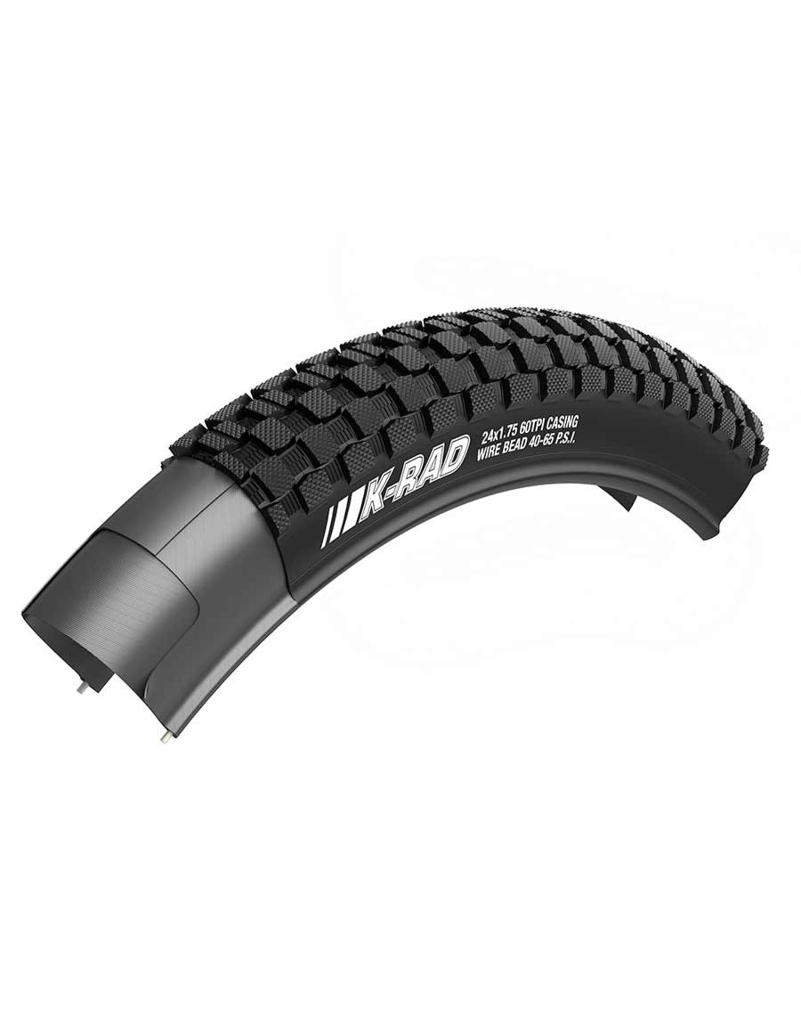 Kenda, K-Rad, Tire, 24''x2.30, Wire, Clincher, PRC, 60TPI, Black