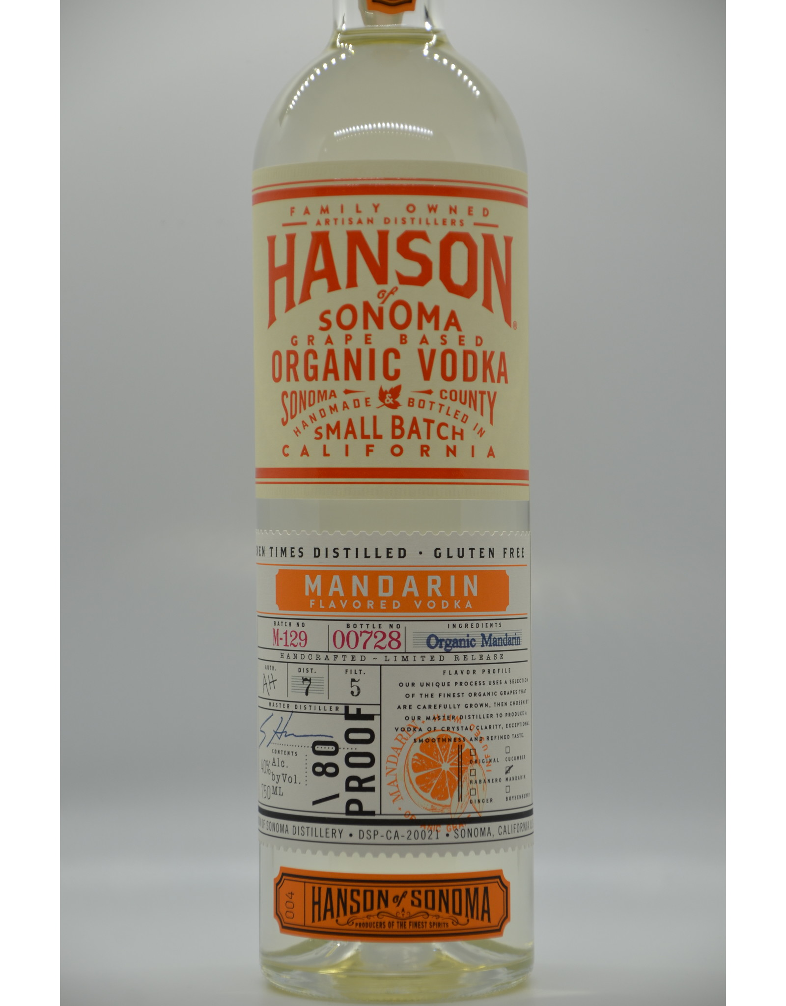 USA Hanson Of Sonoma Mandarin Vodka