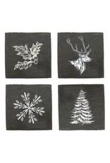 USA Slate Holiday Coaster Set Winter Designs