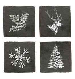 USA Slate Holiday Coaster Set Winter Designs