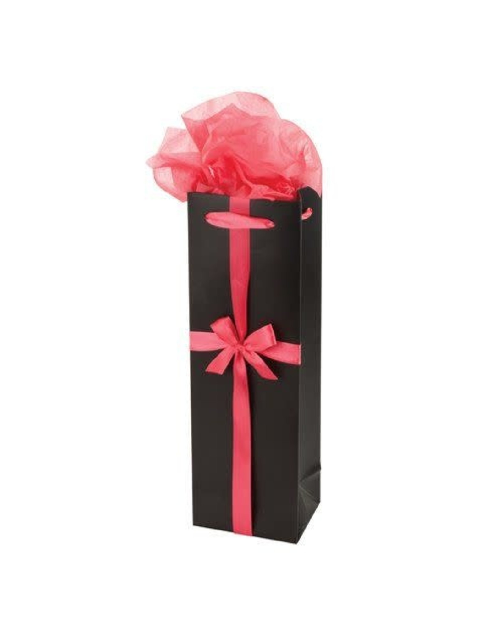 Black And Pink Ribbon Wine Bag