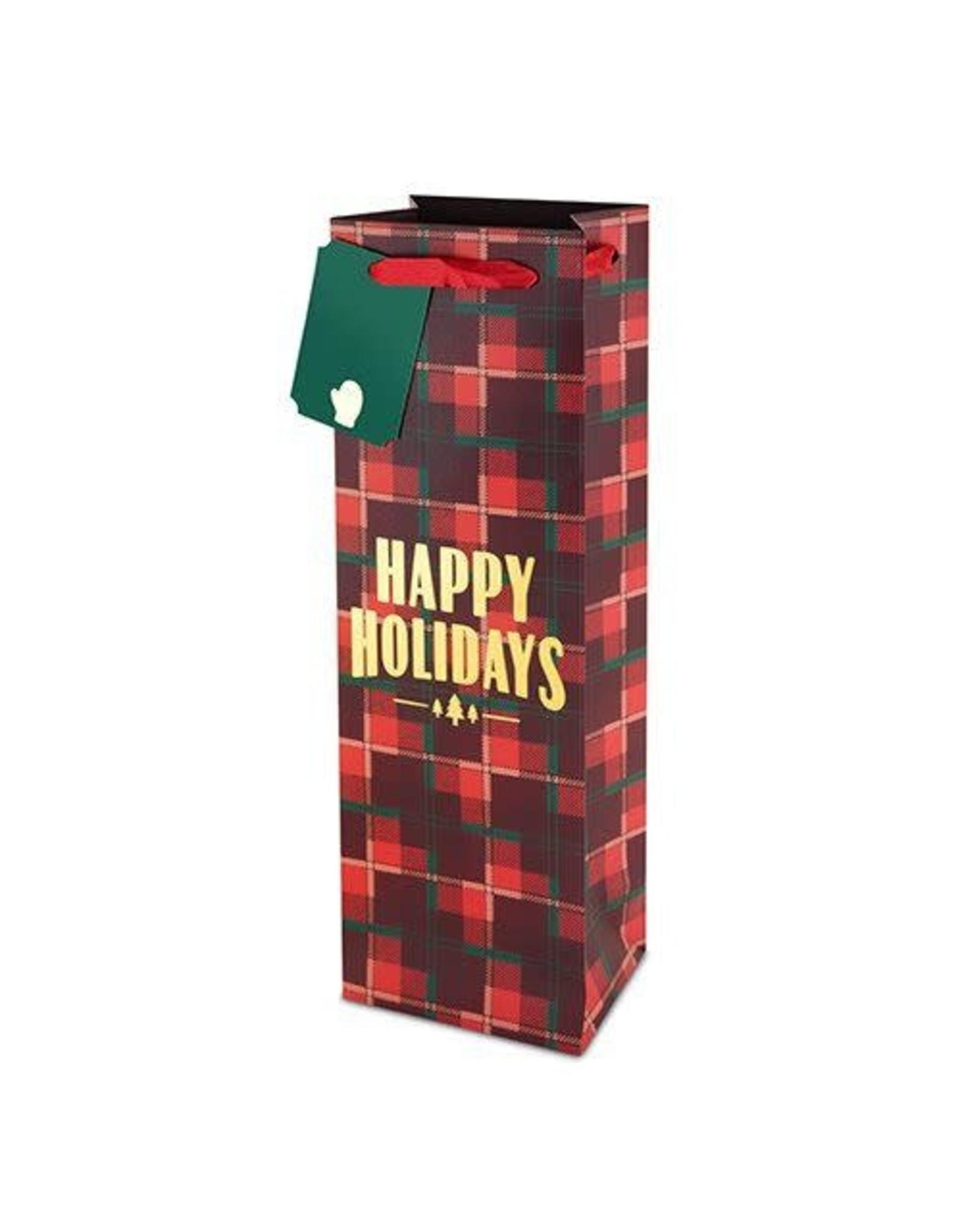 USA Plaid Happy Holidays Wine Bag