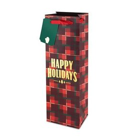 USA Plaid Happy Holidays Wine Bag