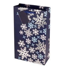 Blue Snowflakes Double Bottle Wine Bag