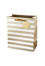 Ritzy Metallic Stripes Double Bottle Gift Bag