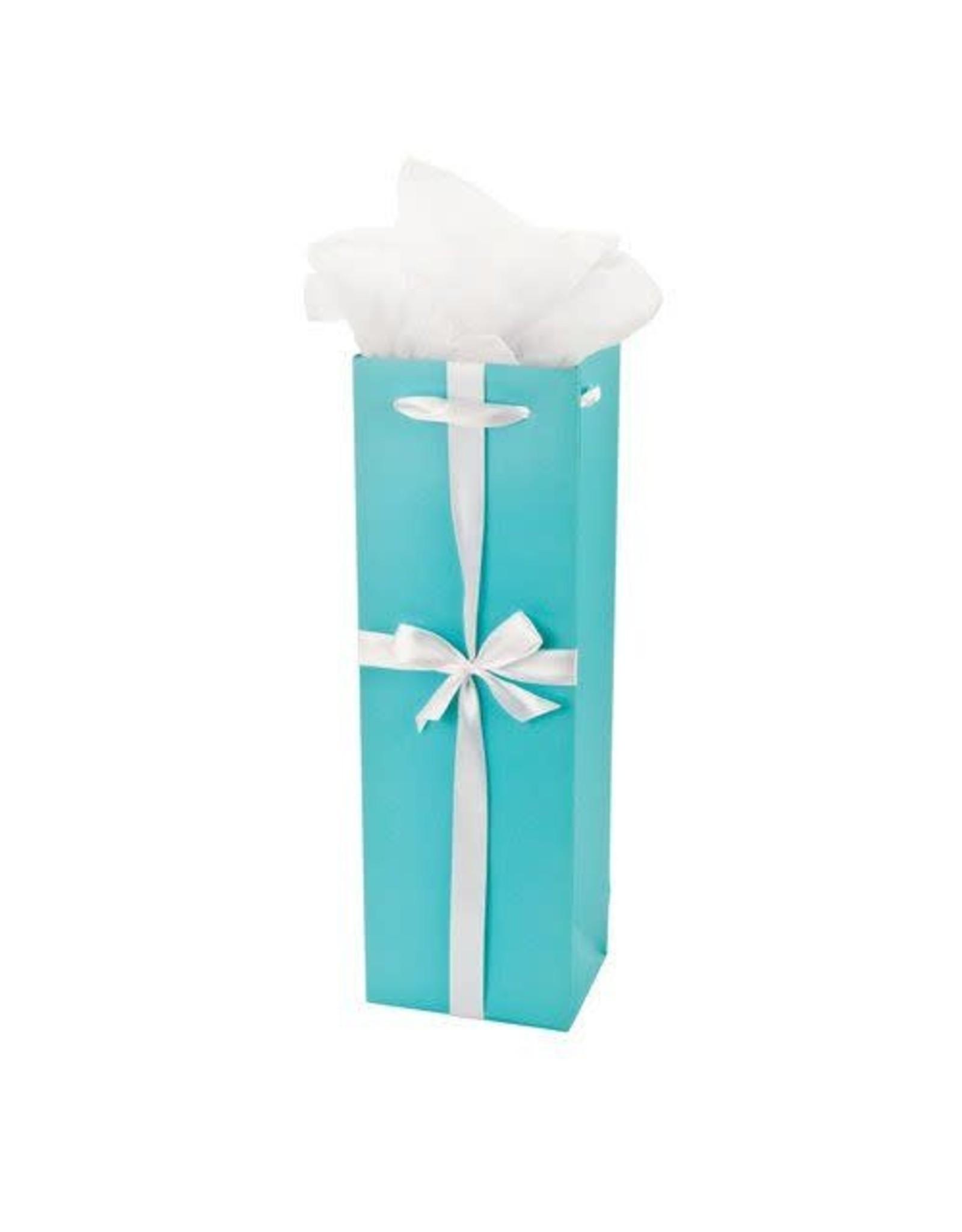 Audrey Turquoise w/ White Ribbon Wine Bag