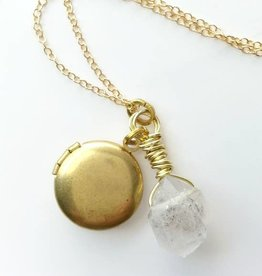 NECKLACE-QUARTZ STONE & LOCKET