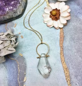 NECKLACE-NAT. CRYSTAL QUARTZ DROP PENDANT, 14K GLD FILL