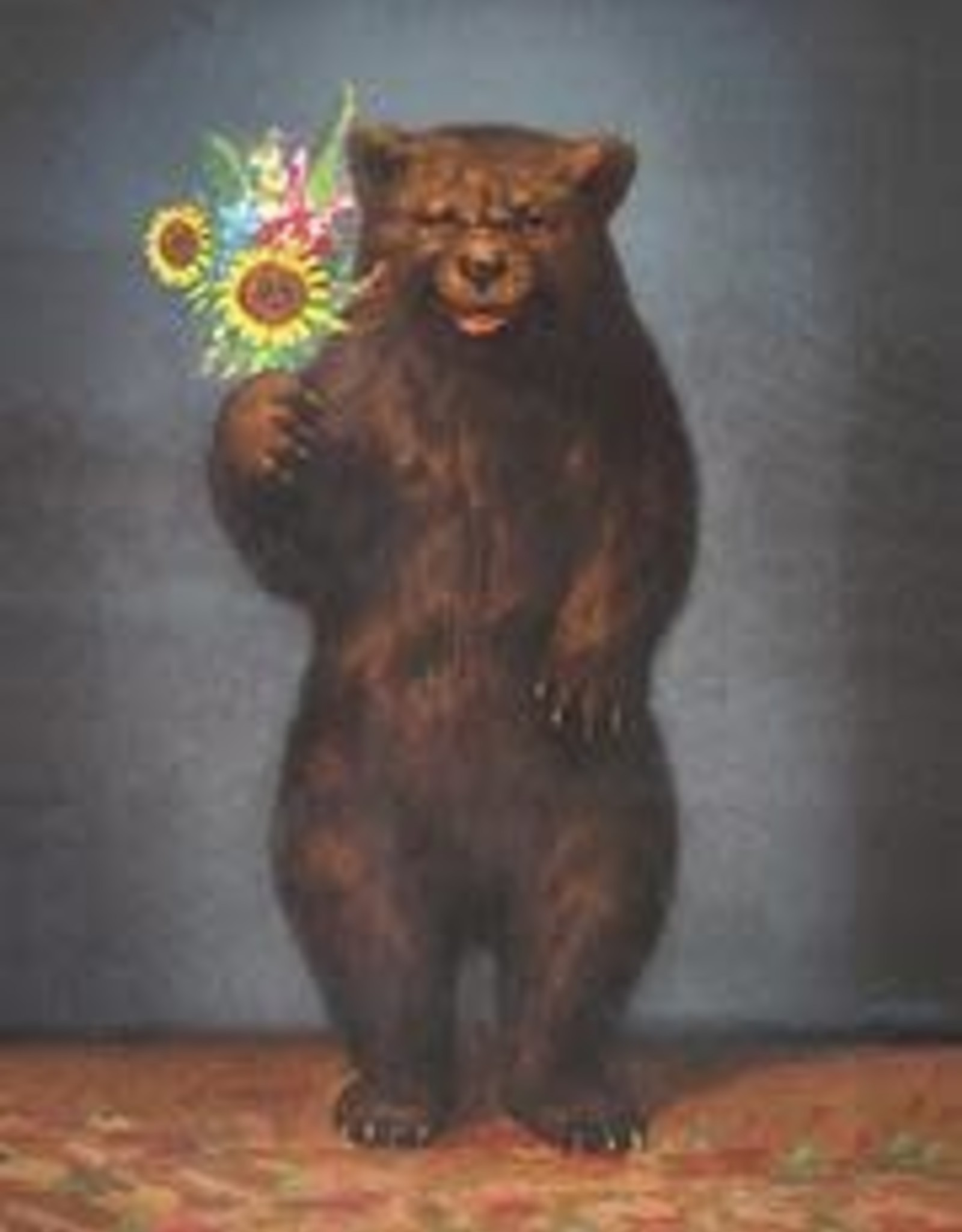CARD-JUST BECAUSE-BEAR WITH FLOWERS