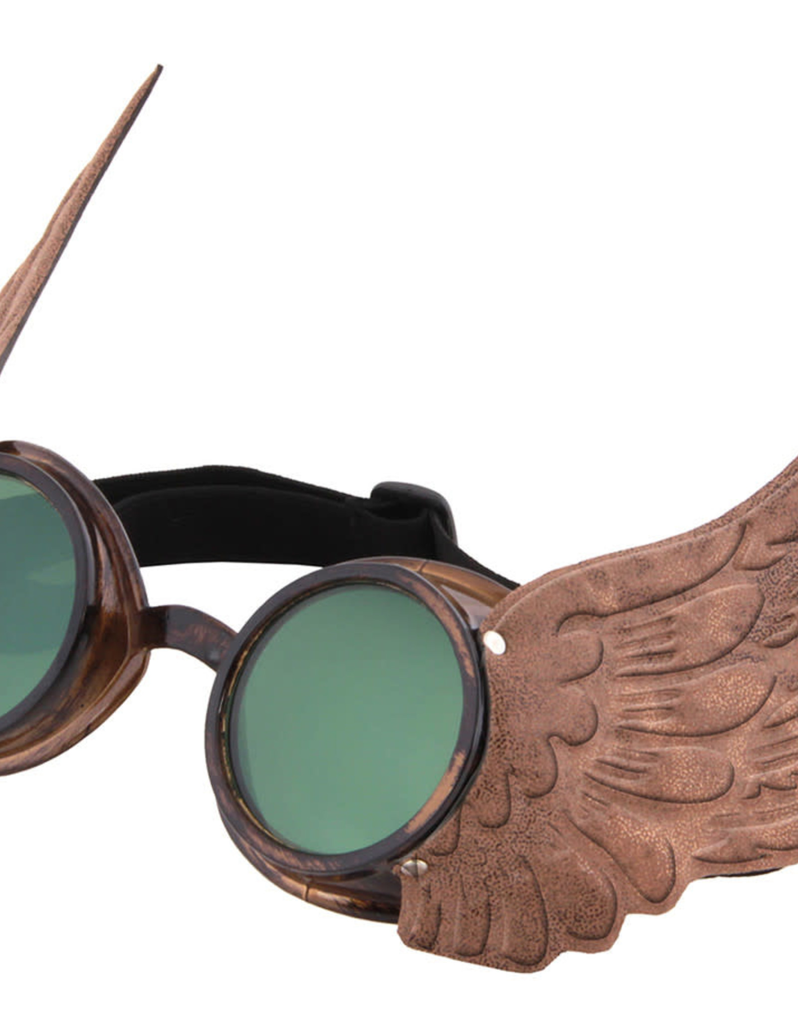 GOGGLES-WINGED, GOLD W/GRN LENS