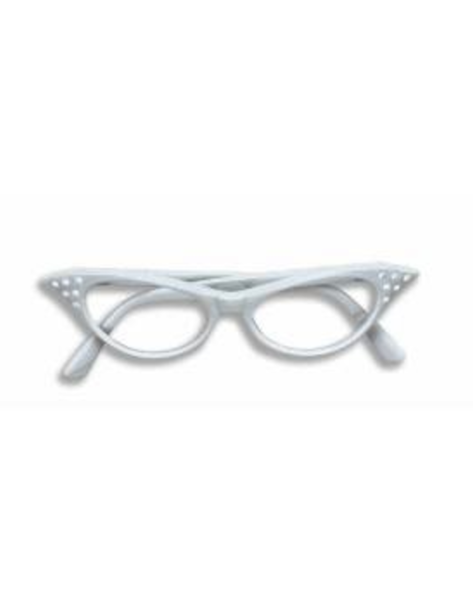 GLASSES-50'S RHINESTONE<br />CLEAR LENS, WHITE