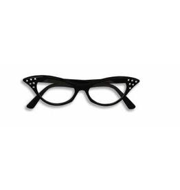 GLASSES-50'S RHINESTONECLEAR LENS, BLACK