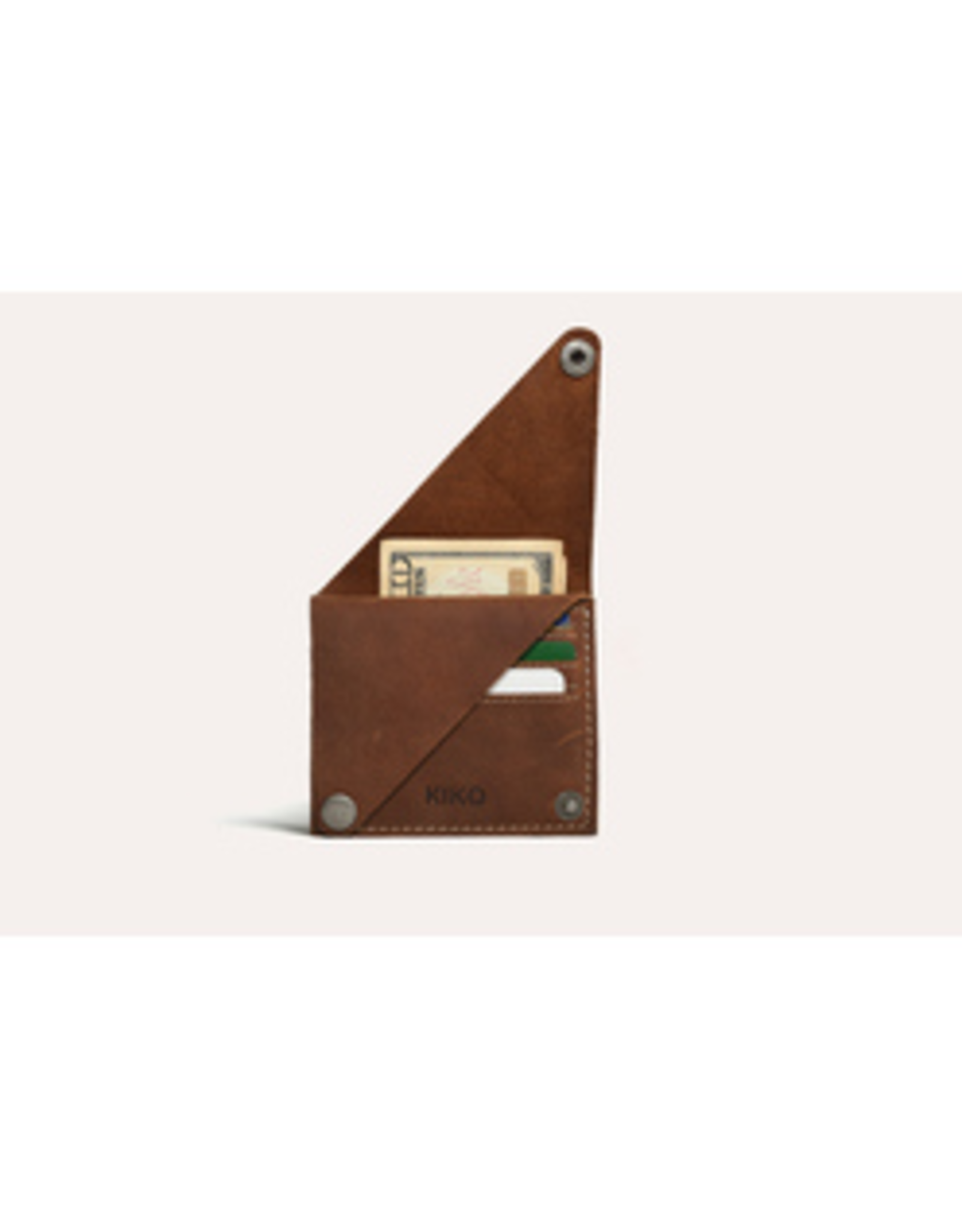WALLET-WING FOLD CARD CASE, LEATHER, BROWN