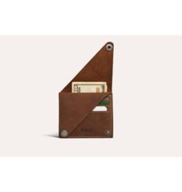 CARD CASE-WING FOLD, LEATHER, BROWN