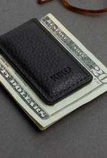 MONEY CLIP-LEATHER, BLACK