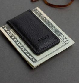 MONEY CLIP-LEATHER, BLACK