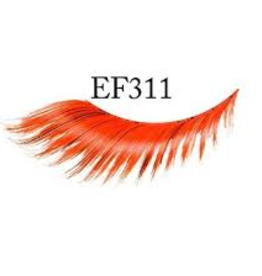 EYELASH-FEATHERED, RED/BLACK