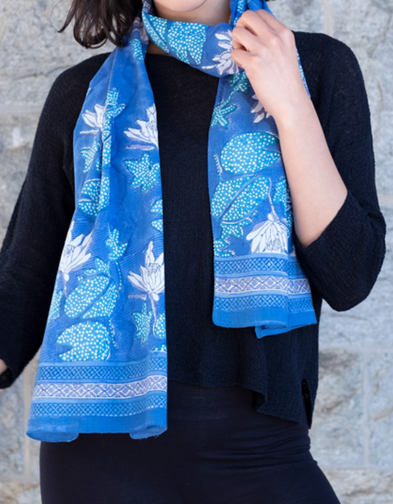 """SCARF-BANDANA-WATER LILY, 30""""X30"""", COTTON VOILE"""