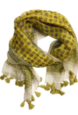SCARF-COTTON-MILANA FRINGED YELLOW