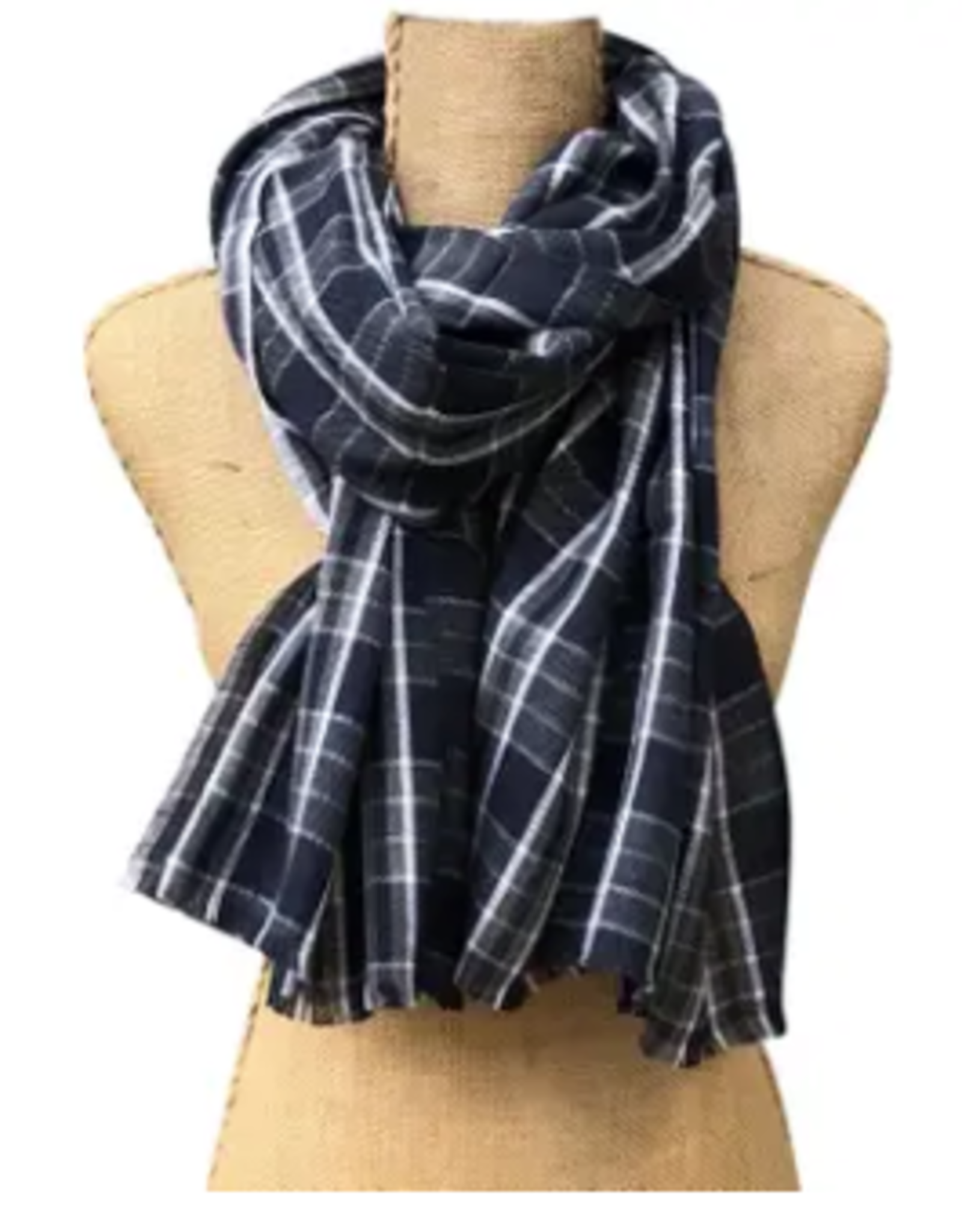 SCARF-COTTON-JORDAN PLAID NAVY/GREY
