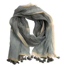 SCARF-COTTON-NIRA FRINGED GRAY