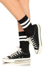 SOCKS-ATHLETIC-ANKLETS, BLACK/WHITE, O/S
