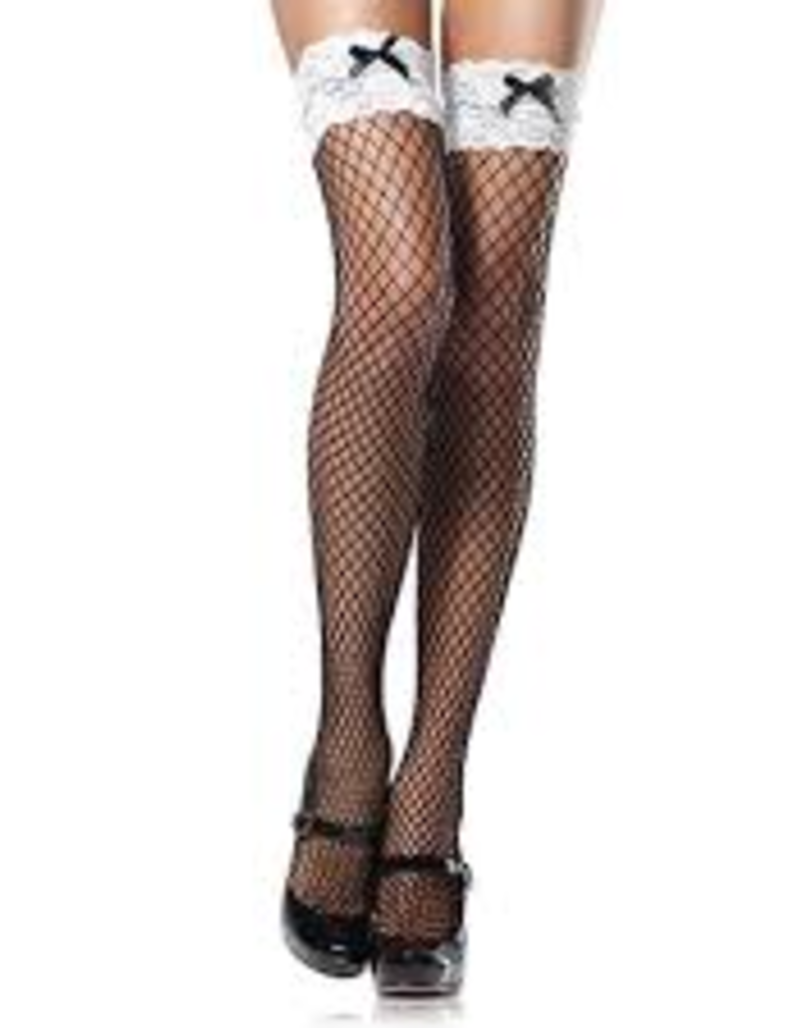THIGH HIGH-FISHNET,<br />W/LACE TOP & BOW