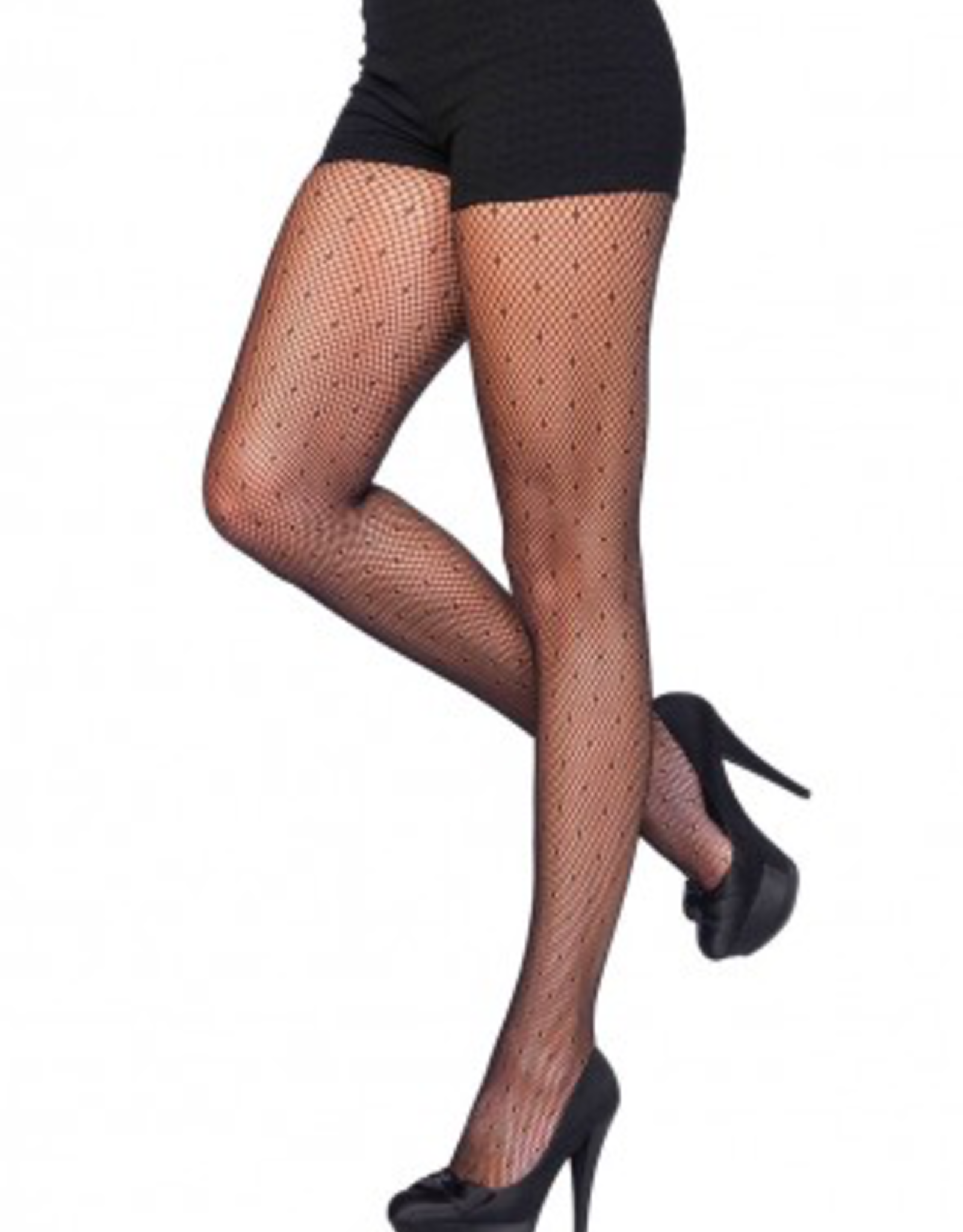 PANTYHOSE-SHEER STARLET DOTTED NET, BLK, D