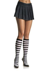 KNEE HIGH-STRIPED, BLK/WHT