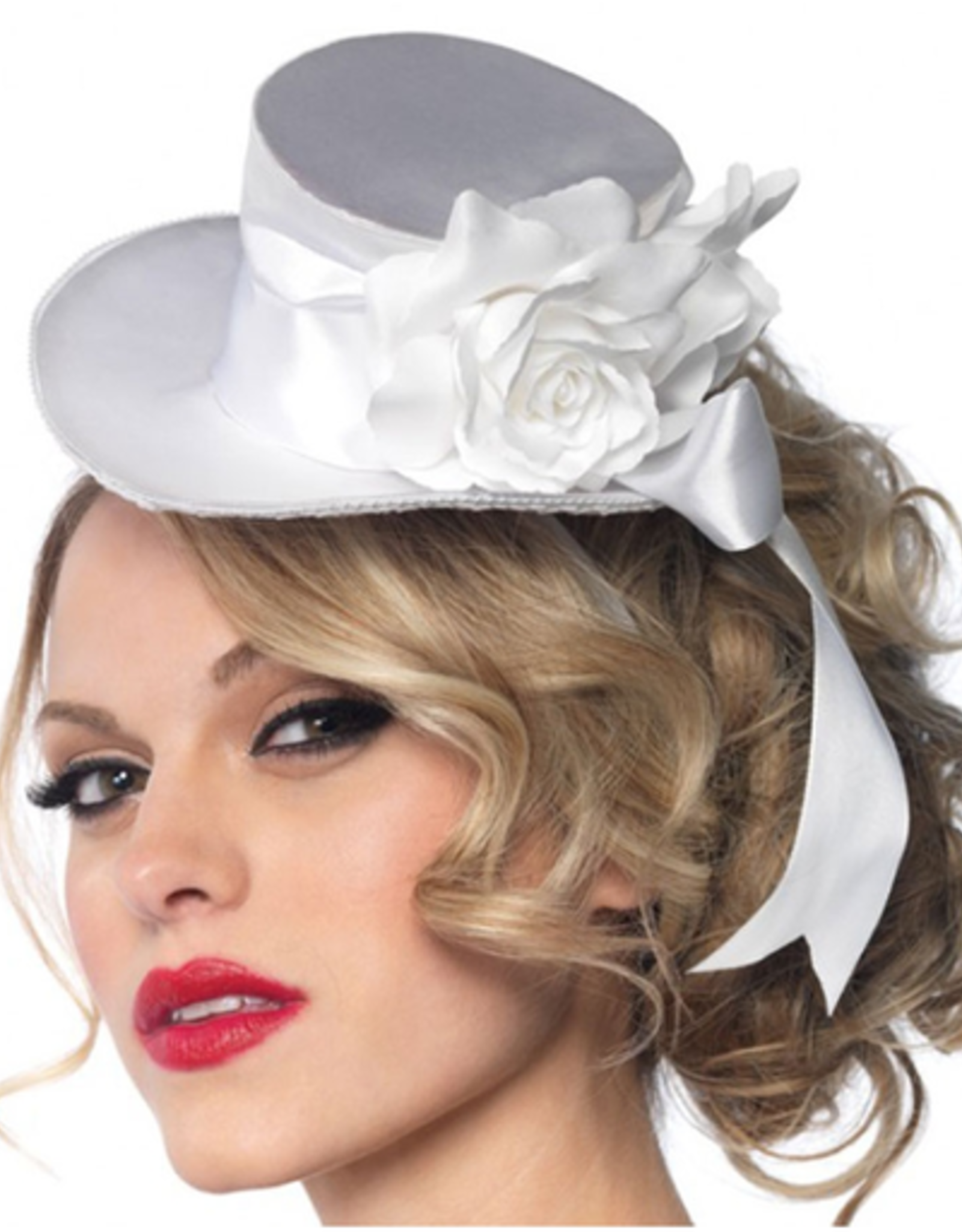 HAT-MINI, TOP HAT, SATIN, W/FLOWER & BOW, WHITE