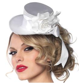 HAT-MINI, TOP HAT, SATIN, W/FLOWER & BOW, WHITE