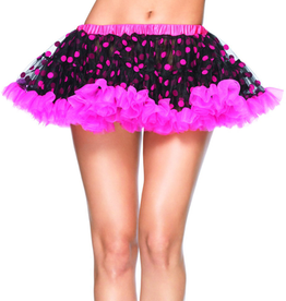 PETTICOAT-BLK/H.PNK, POLKA DOT, MINI, FLOCKED