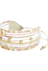 BRACELET-HAND BEADED-CRISTAL, GOLD, PINK, WHITE