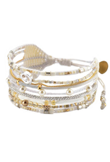 BRACELET-HAND BEADED-CRISTAL, WHITE, GOLD, COPPER