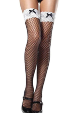 THIGH HIGH-FISHNET-INDUSTRIAL W/STAY UP LACE TOP