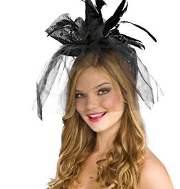 HAT-MINI WITCH HAT, SCARY NET, BLK W/FEATHERS + VEIL & SPIDERS, D