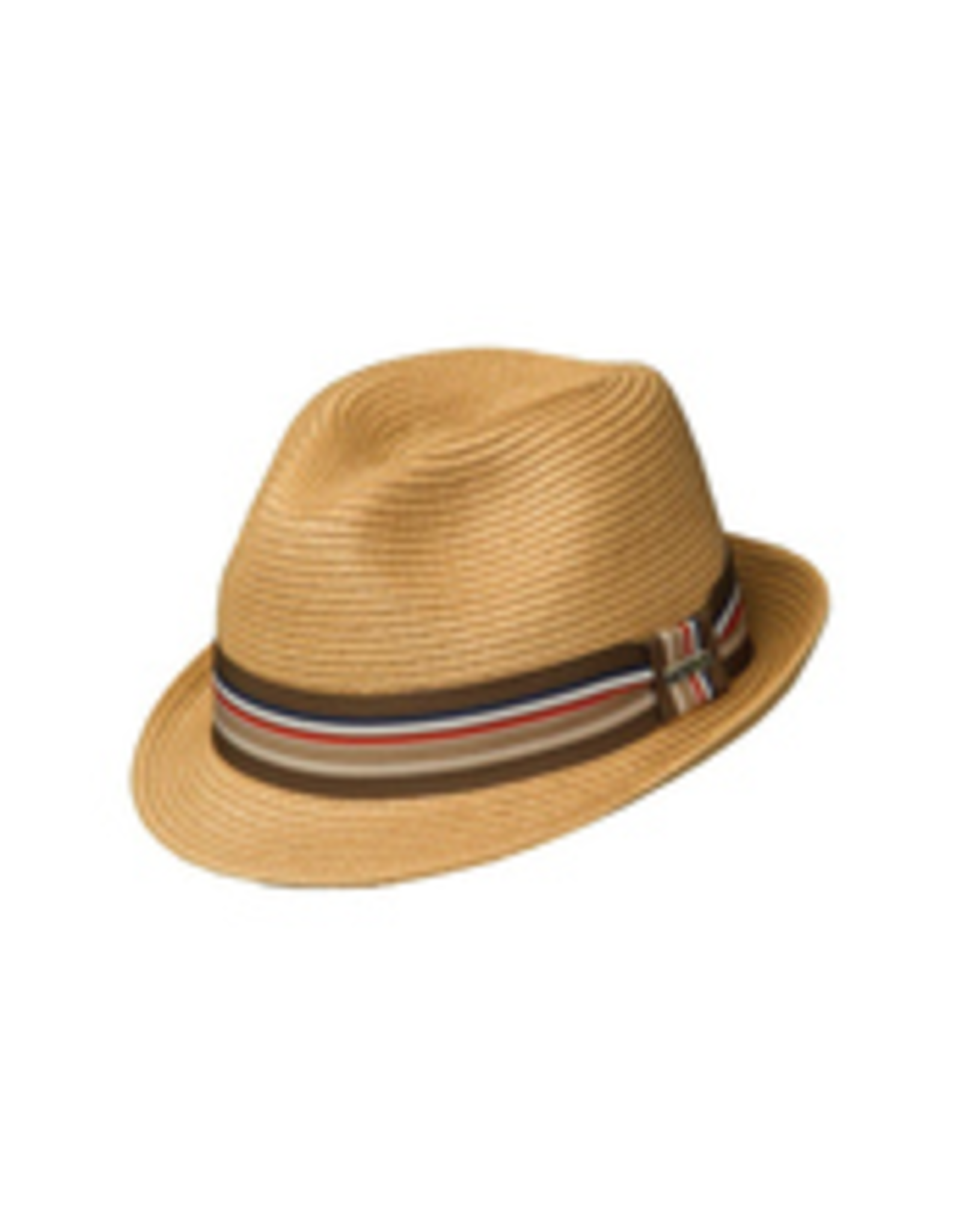 HAT-FEDORA-CINCINNATI, PAPER BRAID, STIPE RIBBON