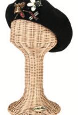 HAT-BERET-BUG JEWELS BLACK