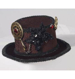 HAT-MINI STEAMPUNK-BROWN WITH GEARS + BLACK APPLIQUE