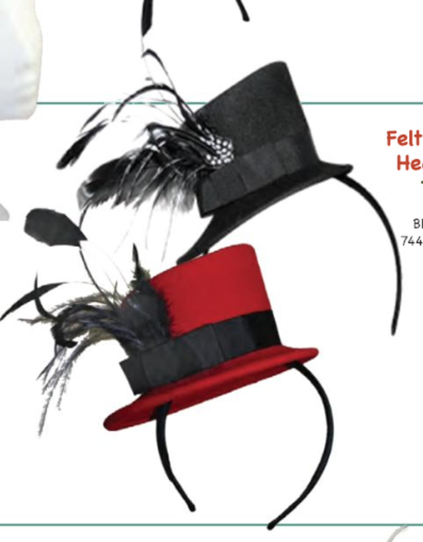 HAT-MINI TOP HAT W/FEATHERS