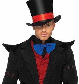 HAT-TOP HAT-VELVET, DELUXE, BLACK W/RED RIBBON