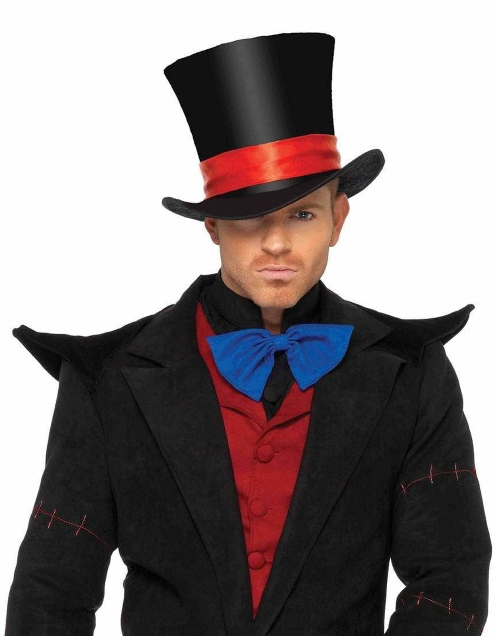 HAT-TOP HAT-VELVET, DELUXE, BLACK W/RED RIBBON