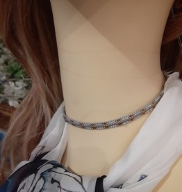 NECKLACE-CHOKER, HAND BEADED SILVER/GOLD