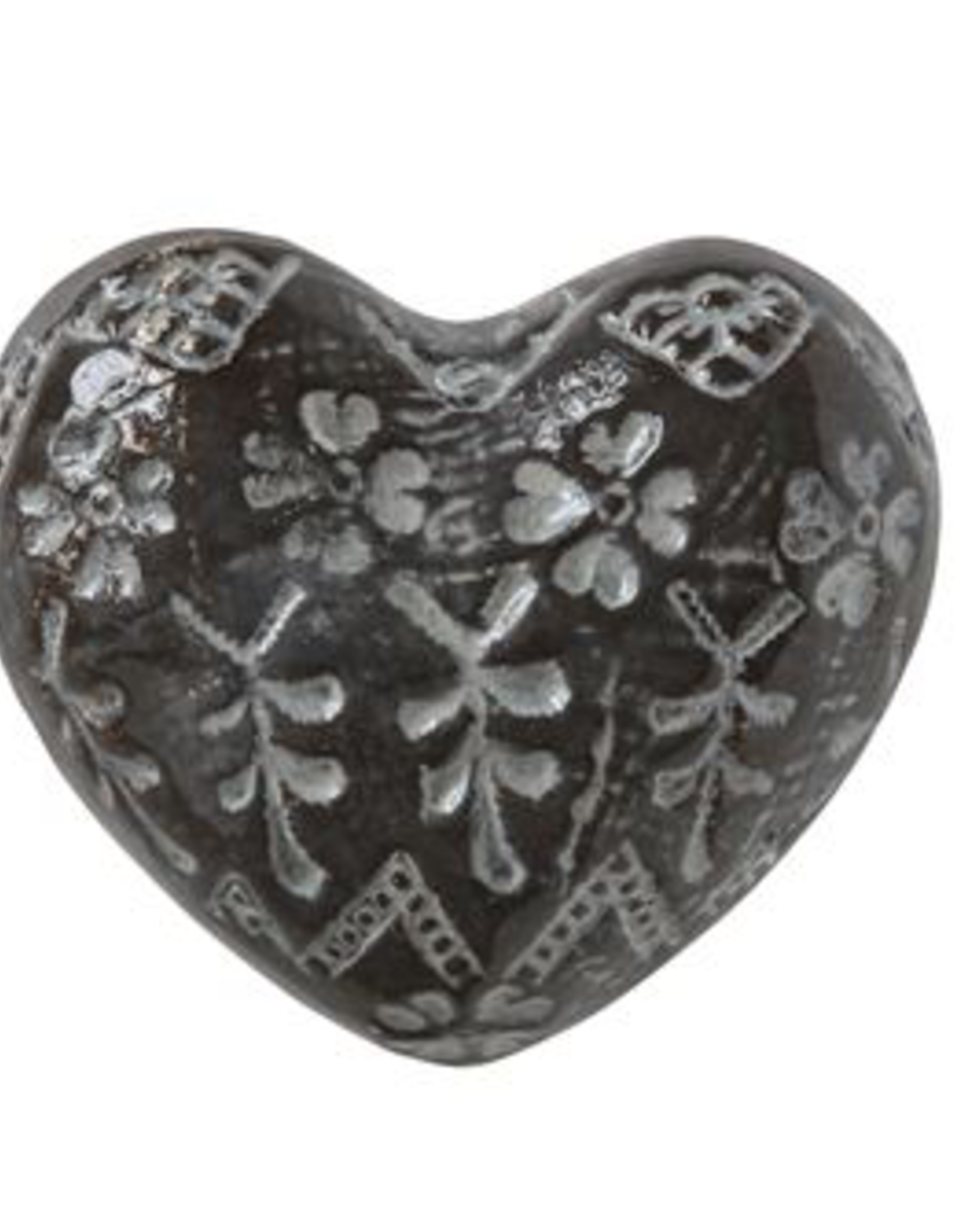 "SCULPTURE-STONEWARE-HEART, 3.5""X3"", BROWN/WHITE"