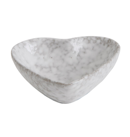 BOWL-STONEWARE-HEART SHAPE, ANTIQUE WHITE